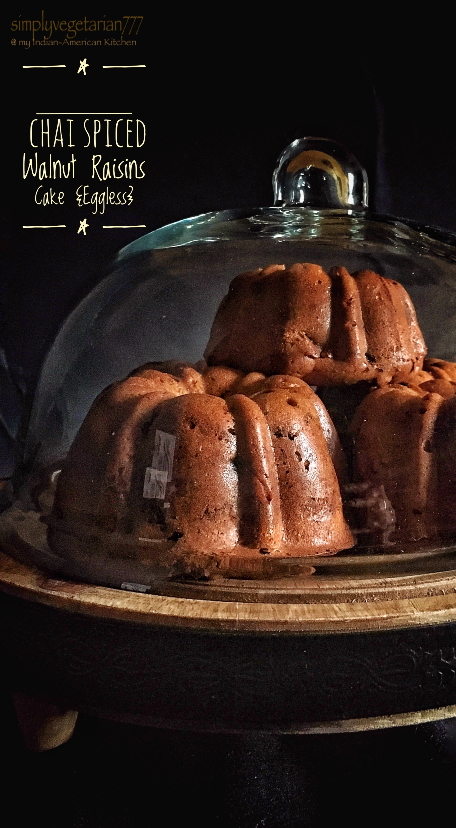 Chai Spiced Walnut Raisins Cake {Eggless} with Cinnamon Glaze