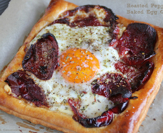 Roasted Pepper & Baked Egg Galette aka Simply Sensational Lunch for One