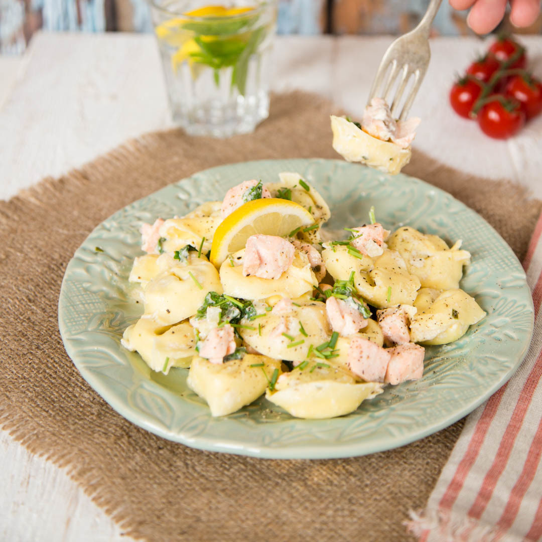 Salmon pasta in a creamy garlic & herb sauce