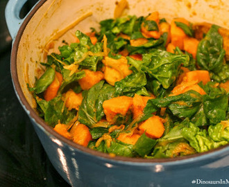 Buttercup, kumara and spinach curry with chicken breast