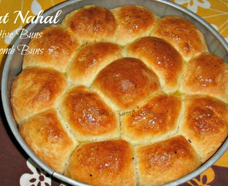 Bee Hive Buns / Honeycomb Buns  /  Khaliat Nahal  - Eggless #BreadBakers