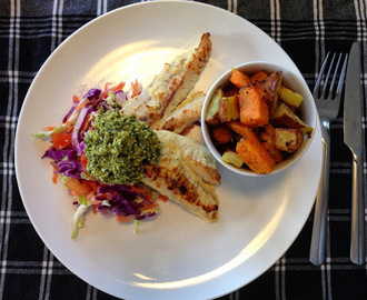 Fish and Chips - Oven Baked Fish with Garlic Fries, Coleslaw and Kale and Broccoli Pesto