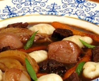 Braised Venison with Baby Carrots, Fennel and Gnocchi