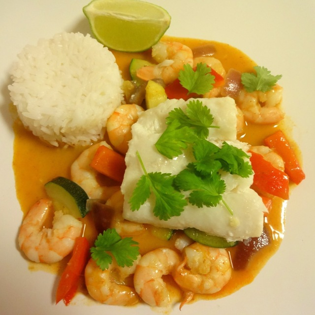 Thai skreifilet med scampi ♪♫¸♥¸♫♪