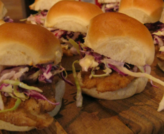 Spicy Fish and Coleslaw Sliders