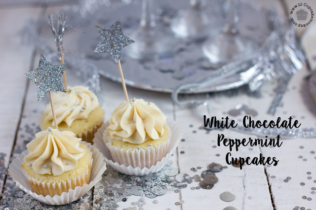 New Year Special: Peppermint White Chocolate Cupcakes: Vanilla Bean Cupcakes with Peppermint White Chocolate Ganache Whipped Buttercream Frosting