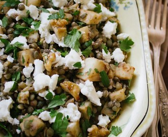 Lentils with Celeriac, Walnuts and Feta