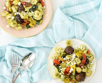 Grilled Veggie and Tortellini Pasta with Basil Vinaigrette