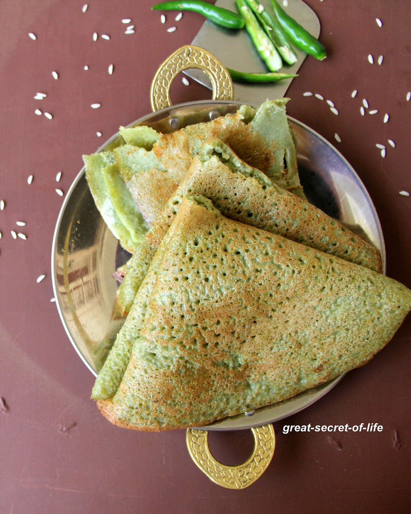 Keerai Dosa - Spinach Dosa - Healthy dosa recipe - Breakfast, dinner recipe