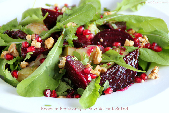 Roasted Beetroot, Leek & Walnut Salad with Tamarind Dressing & Pomegranate