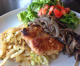 Almond Crusted Pork with Cabbage Noodles and Mushroom Sauce