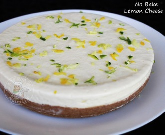 NO BAKE LEMON CHEESECAKE / NO GELATIN CHEESECAKE - NO BAKE CHEESECAKE