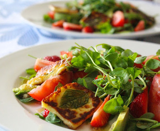Halloumi and Avocado Salad with Strawberries