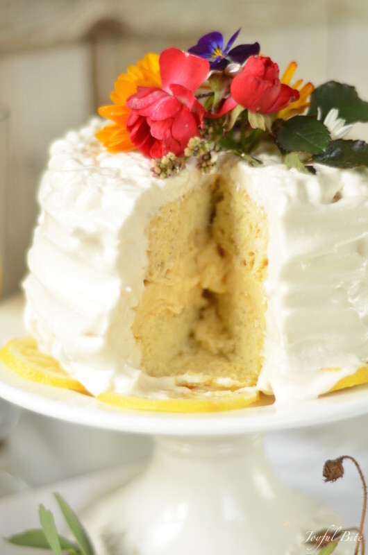 Paleo Lemon Cake with Lemon Curd and Meringue Frosting – guest post from Kaylie of Joyful Bite