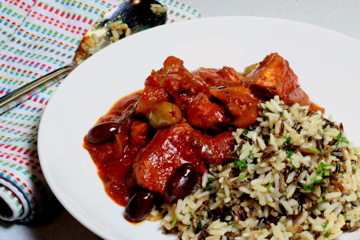 Italian Red Wine Chicken Stew with Parsley and Sea Salt Wild Rice