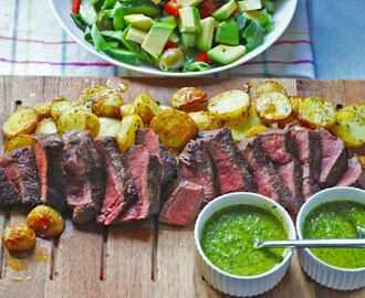 Steak platter with Chimichurri, Rosemary Potatoes & Avo Salad