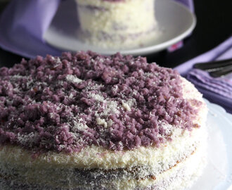 Ube  Cake with White Chocolate Coconut Frosting