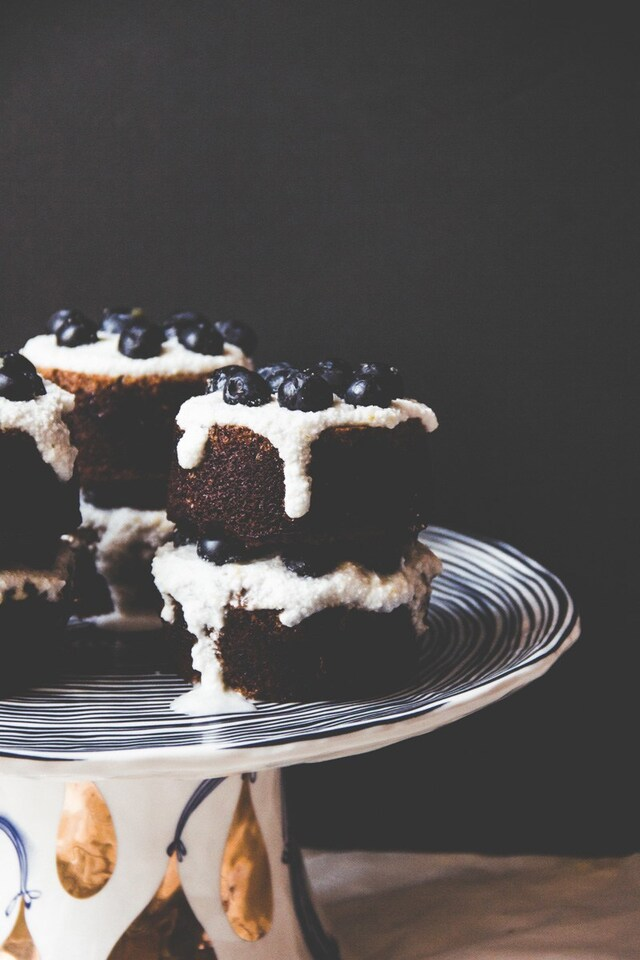 Blueberry Poppy Seed Almond Cakes with Lemon Coconut Cream
