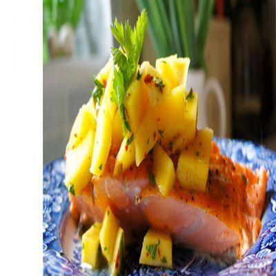 CARIBBEAN JERK SALMON WITH MANGO, STRAWBERRY, AND PINEAPPLE SALSA