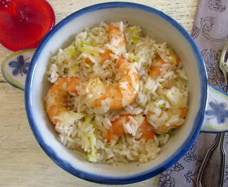 Rice with shrimp and leek