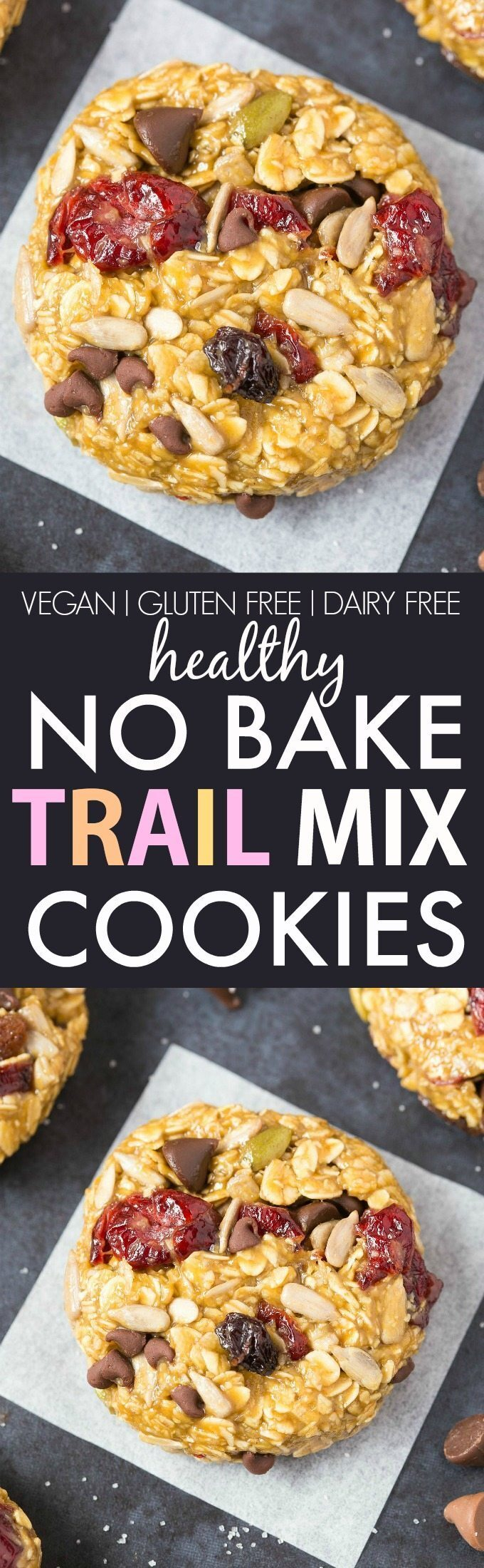 Healthy No Bake Trail Mix Cookies (Vegan, Gluten Free, Sugar Free)