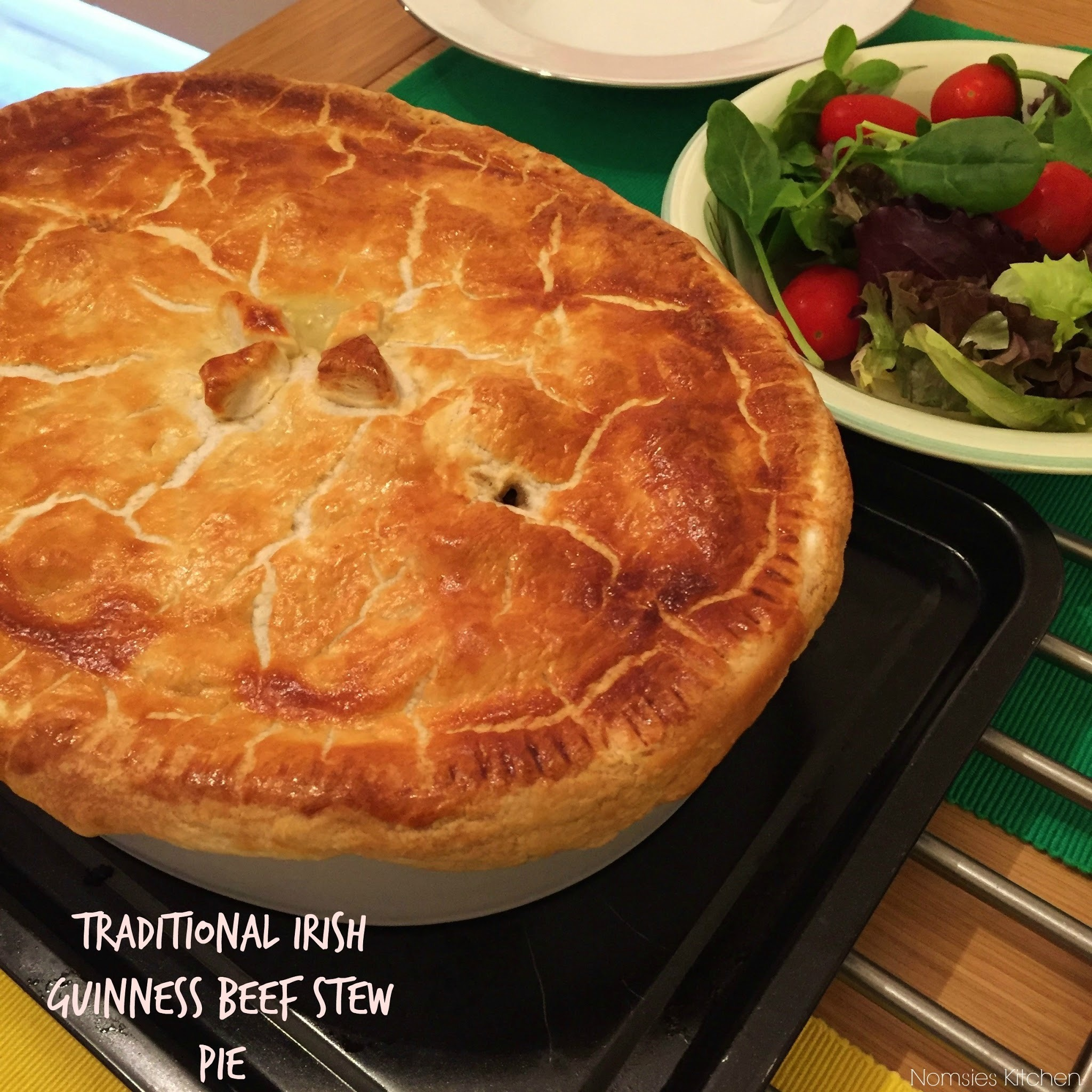 Traditional Irish Guinness and Beef Stew Pie