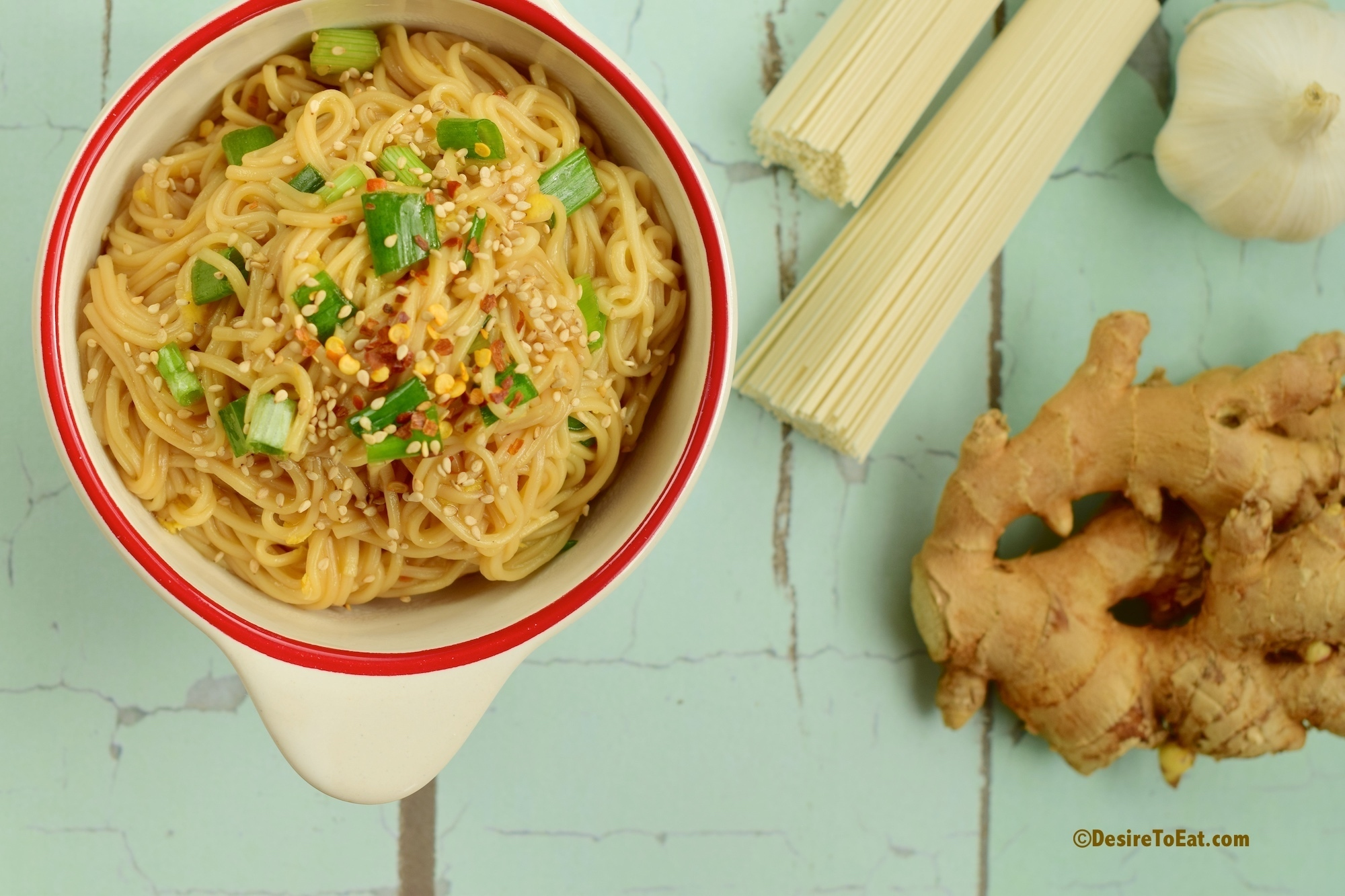 Somen noodle with ginger garlic sesame soy sauce