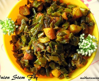 Spring Onion Fry / Ulli Kadala Vepudu / Onion Stem Fry / Green Onion Fry