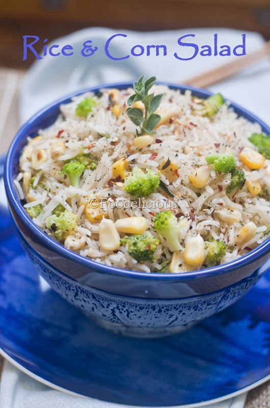 Rice & Corn Salad; Light Meal On Monday; Vegan Recipe