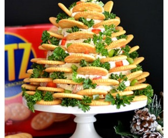 Holiday RITZ Veggie Cream Cheese Appetizer Tree