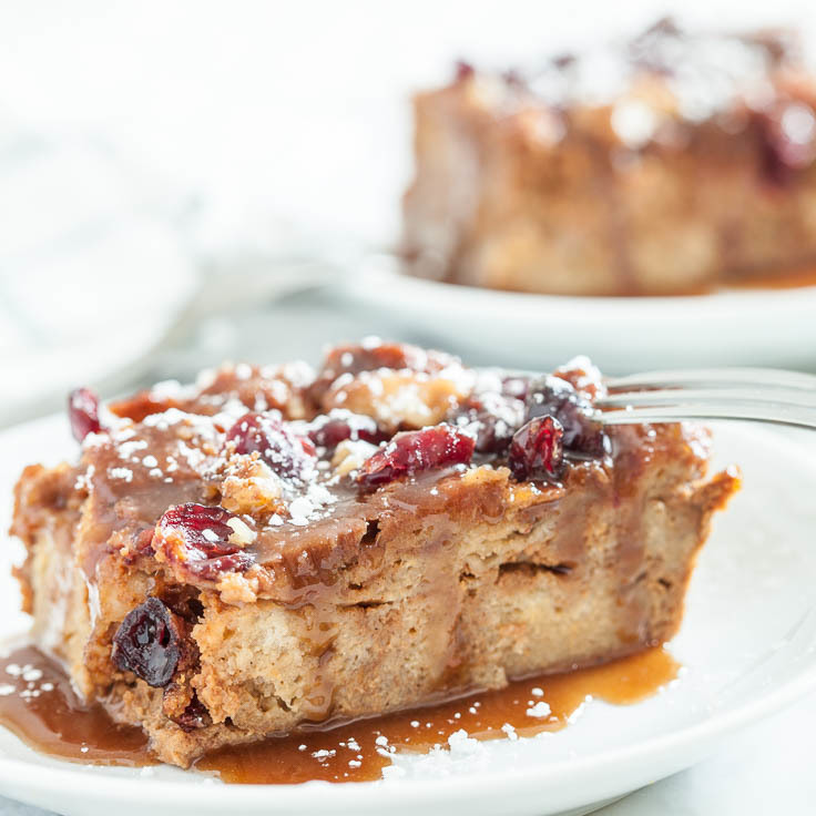 Pumpkin Bread Pudding with Caramel Sauce (Make-Ahead!)