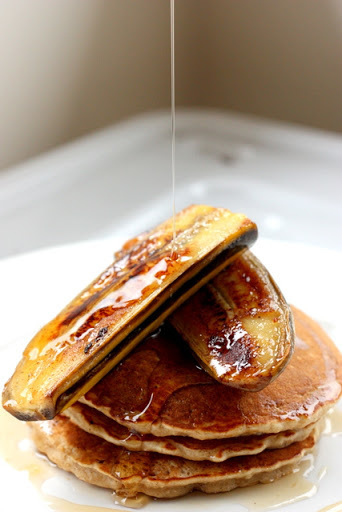 Cinnamon & olive oil pancakes with salted butter caramelized bananas