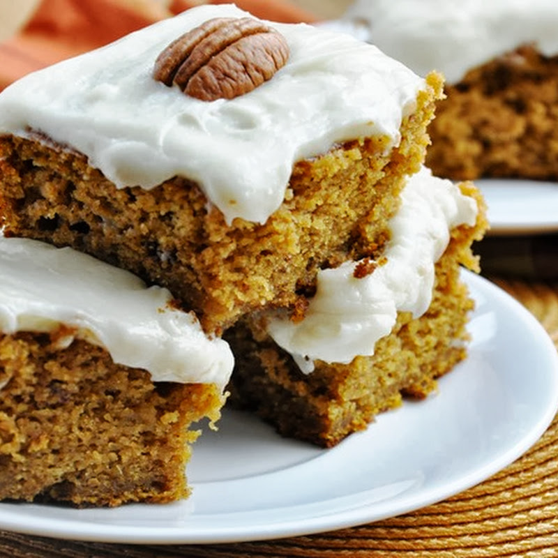 Pumpkin Cake Bars w/Cream Cheese Frosting… reduced-fat