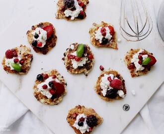 Protein Rich Cottage Cheese Fritters with Berries and Fresh Basil