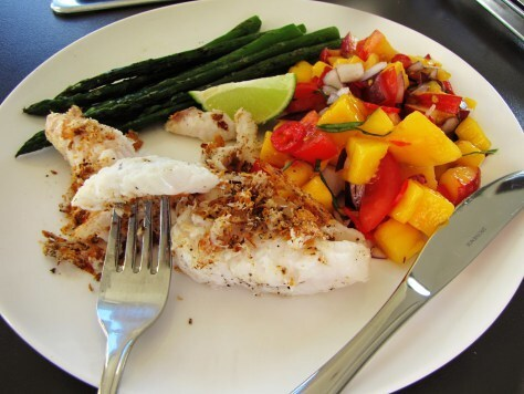 Pan fried Monk Fish with griddled Asparagus, Mango Peach Salsa, and crispy pan scrapings