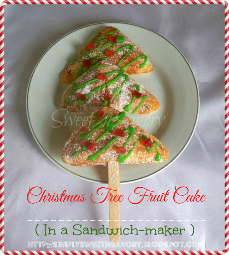 Christmas Tree Fruit Cake ( In a Sandwich-maker )