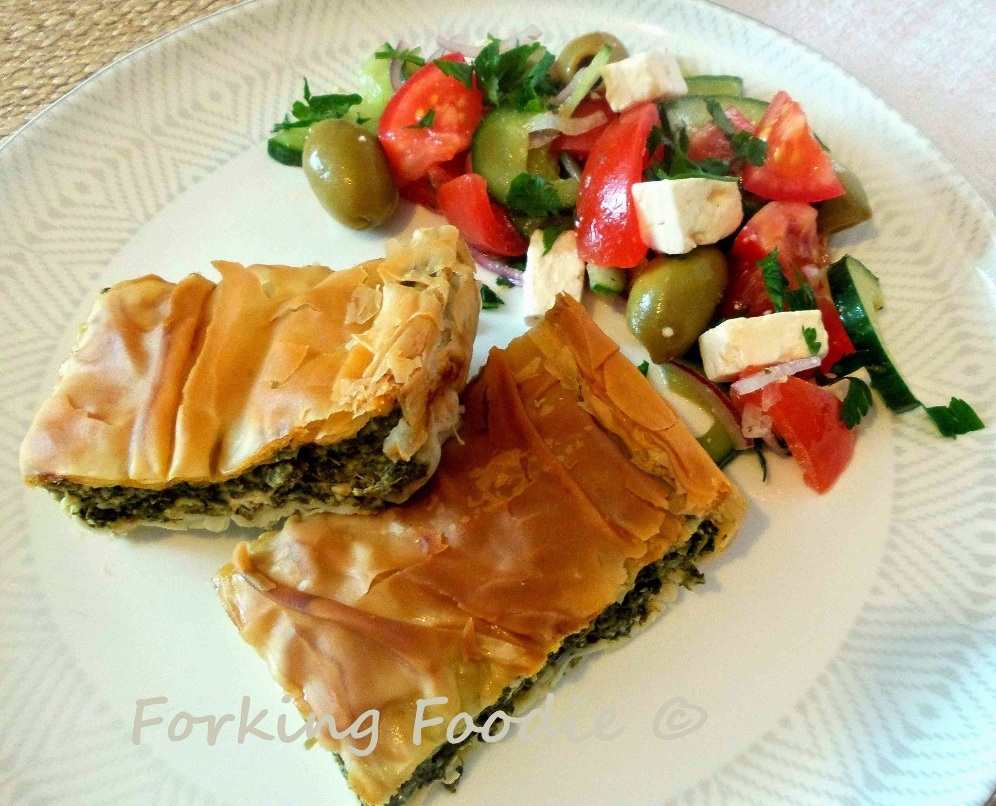 Spinach and Feta Filo Pie - Spanakotiropita / Spanakopita (includes Thermomix method)