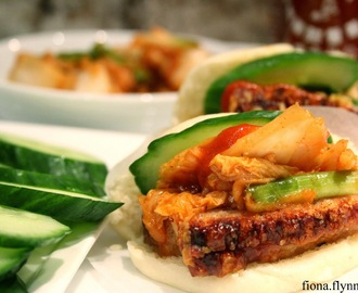 Steamed Buns with Slow Cooked Pork Belly and Kimchi