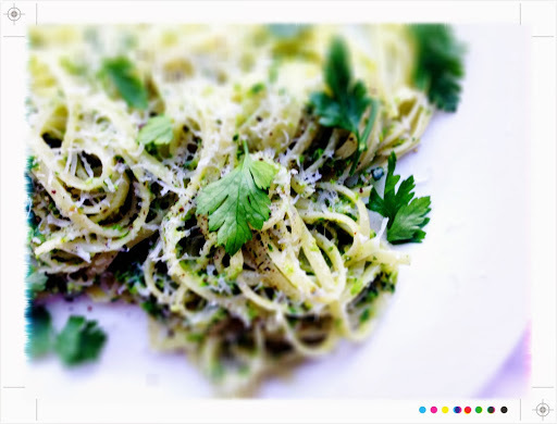 Char-grilled Asparagus & Parsley Pesto Pasta