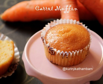 Eggless Butterless Whole Wheat Carrot Muffins