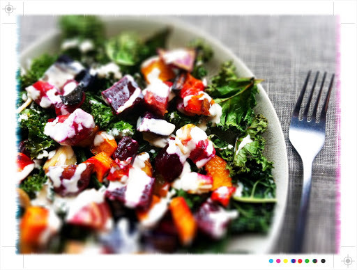 In Season - Crispy Kale and Roast Vegetable Salad with Lemon Tahini Dressing