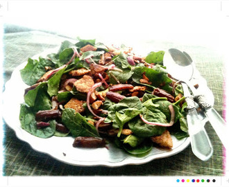 Bookshelf:Baby Spinach Salad with Dates and Almonds from Ottolenghi's Jerusalem