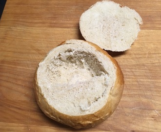 Crusty Bread Bowls for soup -- crusty on the outside, soft on the inside