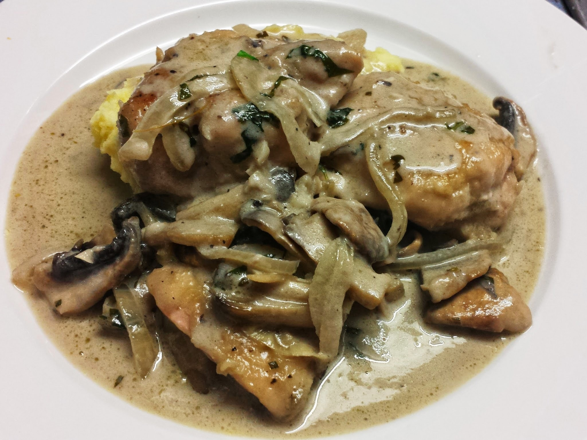 Chicken in a Creamy Mushroom and Herb Sauce