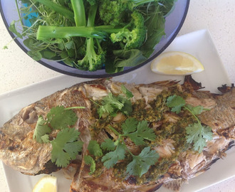 Barbequed whole snapper with herbed garlic and ginger sauce