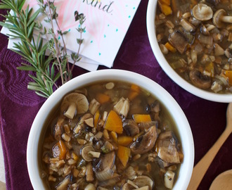 Mushroom Farro Soup {oil-free, gf option} + How to Make Homemade Stock // Crossroads by Tal Ronnen Cookbook Review
