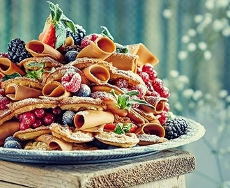 Norwegian «Brown Cheese» Waffle Cake with Berries