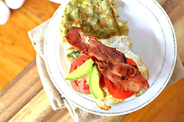 Avocado Bacon and Egg Hash Brown Waffle Sandwich