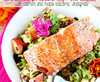 Shredded Brussels Sprouts Salad with Salmon and Maple Balsamic Vinaigrette