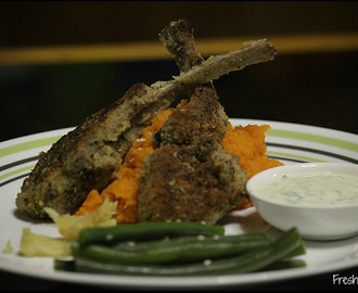 Crumbed Lamb Cutlets with Roasted Sweet Potato Mash